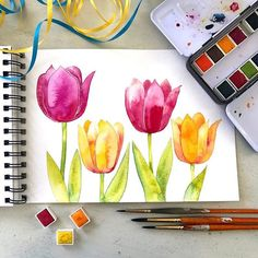 Watercolor Your Easter Projects! Prima Watercolor, Watercolor Drawing, Watercolor Flowers, Easter Projects, Paint And Sip, Watercolour Tutorials, Diy Painting, Flower Art, Spring Green