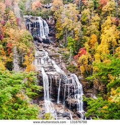 Whitewater falls NC, in autumn.  The Whitewater River in the Jocassee Gorge. - stock photo
