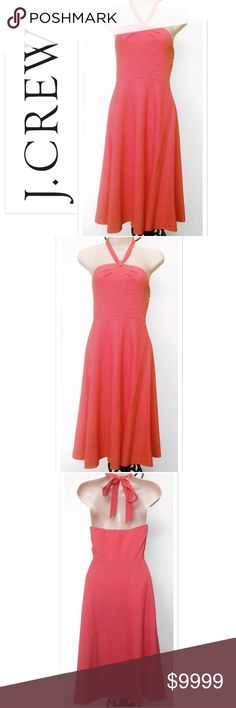 """Just in! Halter Seersucker A-line Tea dress J. Crew 100% Cotton w/100% Cotton lining. Excellent condition, you may mistake this for brand new. Soft warm pink toned coral seersucker. A-Line. Party tea dress.  Hidden side zipper & hook & eye closure. Adjustable halter tie. Rubber holder along back of upper. Exact Measurements: Waist 26"""". Bust 30"""". Cleavage to hem length 34"""" ID: jcaro J. Crew Dresses"""