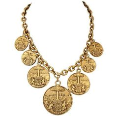 Chanel Vintage Medallion Necklace ($600) ❤ liked on Polyvore featuring jewelry, necklaces, gold tone necklace, vintage necklace, statement necklace, chanel and bib statement necklace