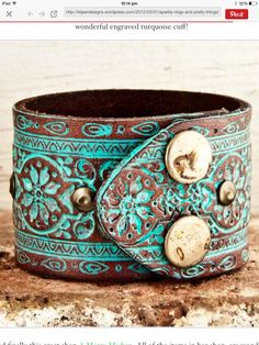 Turquoise wrist cuff. 😊 Love the detail!