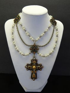 Queen Anne Renaissance Medieval Jeweled Cross and Pearl Necklace and Earrings