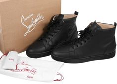 GB1026867 Authentic Christian Louboutin Mens Black Rantus Gomme Sneakers Size 11.5 Flat Black High Top Extra laces Box…