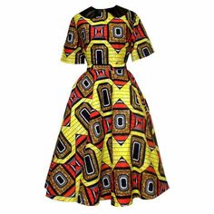 Classy and unique dress with a great mix of a soft cotton bodice and an African print midi circle skirt. Get the best of both worlds with this dress that's available in all sizes, and comes in a varie African Print Skirt, African Print Dresses, African Fabric, African Dress, African Prints, African Inspired Fashion, African Print Fashion, Africa Fashion, African Attire