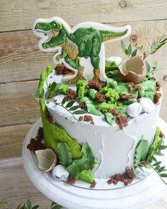 New cake birthday kids baking Ideas Dinosaur Birthday Cakes, Dinosaur Cake, Cool Birthday Cakes, Birthday Cupcakes, Birthday Kids, Cake Mix Cupcakes, Cake Cookies, Bolo Dino, Teenager Party