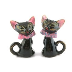 vintage salt and pepper shakers black cat JAPAN