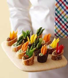 Crudites: A thick slice of baguette, with a little well hollowed out on the diagonal side. Fill with fresh veggies and a dollop of dip.