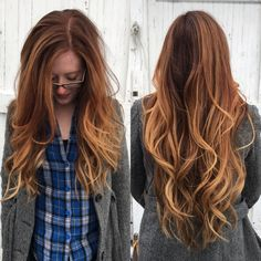 Instagram: @courtsoshort. copper balayage sombre using Shines XG and Pravana balayage lightener