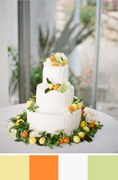 Love these colors - pale yellow, orange, pale lime green and white. Source: wedding chicks. #weddingcake #yellow I'm just loving the color scheme