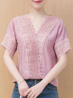 #Valentines #AdoreWe #BerryLook - #berrylook Summer  Chiffon  Women  V-Neck  Decorative Lace  Plain  Short Sleeve Blouses - AdoreWe.com