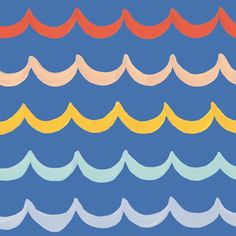 Coral, blush, yellow, mint, grey, and blue waves pattern! Hoping to turn this one into a fabric for Children's rooms. Part of the #25DaysofPatterns project! www.texturedesignco.com Wave Pattern, Surface Pattern Design, Types Of Patterns, Coral Blush, Texture Design, Yellow, Blue, Mint, Waves