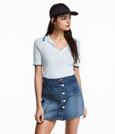 Ribbed Polo Shirt | Light blue | Women | H&M US