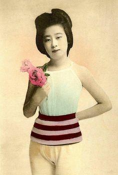 JAPANESE SWIMSUIT GIRLS - Meiji Era Bathing Beauties of Old Japan (15), via Flickr.