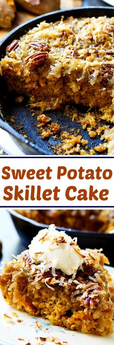 Sweet Potato Skillet Cake with Broiled Coconut and Pecan Icing.