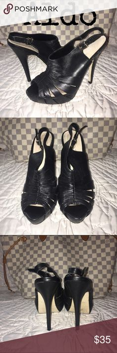 "Aldo Black Leather Platform Heels - Sz 7 - R$99 Aldo black leather open toe platform heels. Excellent used condition. Only worn a couple of times.  Heels 5"", Platforms 1"". Size IT 37/US 7. Retail $99.  ✅Always Authentic✅ ⬇️Bundle & Get 10% Off & Save on Shipping⬇️ ❌Trades❌PayPal❌ ALDO Shoes Platforms"