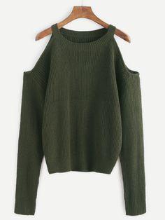 Maglione Spalle Aperte - Verde Militare