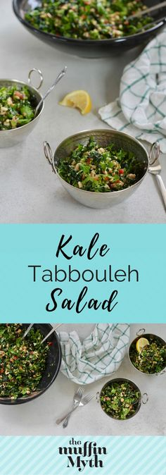 This Kale Tabbouleh Salad is atotally untraditional riff on tabbouleh, plumped up with kale, chickpeas, and kamut for a hearty and filling salad // themuffinmyth.com