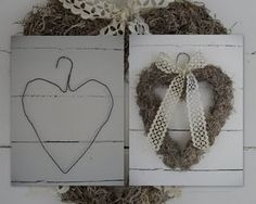 Simple hanger heart. Valentine Day Wreaths, Valentine Decorations, Valentine Crafts, Christmas Wreaths, Shabby Chic Fall, Crafts To Make, Diy Crafts, Egg Carton Crafts, Heart Diy