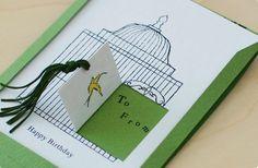 扉を開いて!鳥かごとカナリアのバースデーカード(クロヤギ座)    #bird #birthdaycard #torimizuki Popup, Bird Cage, Stationary, Card Making, Happy Birthday, Diy Crafts, Scrapbook, Messages, Lettering