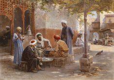 Paul Dominique Philippoteaux (1846-1923) Les joueurs d'echecs Huile sur toile signée en bas à gauche 54 x 75 cm  - Galerie Ary Jan