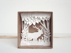 White Forest  shadow box papercut silhouette