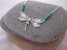 Dragonfly and Turquoise Gemstone Necklace Boho Necklace 2017