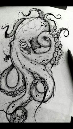 Octopus Design Octopus Tattoo Octopus black and white design sea background . - Octopus Design Octopus Tattoo Octopus Black and White Design Sea Background … – Octopus Design - Octopus Drawing, Octopus Tattoo Design, Octopus Tattoos, Octopus Art, Tattoo Designs, Octopus Sketch, Octopus Painting, Tattoo Ideas, How To Draw Octopus