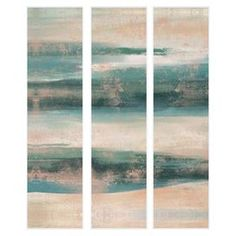 """Add gallery-worthy appeal to your walls with this beautiful giclee print, showcasing a weathered abstract motif. Display it alone as an artful focal point or group it with similar styles for an eye-catching vignette.  Product: Set of 3 giclee printsConstruction Material: Paper, engineered wood and polystyreneFeatures: Ready to hangDimensions: 40"""" H x 10"""" W each"""