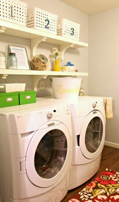 I'd love for my laundry room to have floating shelves + corbels like these.  {I Heart Organizing}