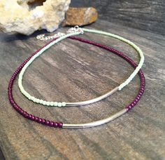 Beaded Silver Tube Choker Necklace, Pink beaded choker, Green beaded, everyday necklace, minimal Necklace, delicate, dainty Boho bohemian