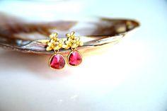 Earrings:Gold plated brass e... from HirasuGaleri on Wanelo