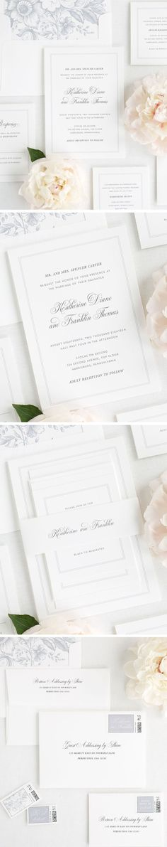 Simple and Classic wedding invitation with a thin double border. Complete with a floral envelope liner in dove gray and a classic white belly band. Create a consistent look throughout your stationery with guest addressing and custom designed postage! Crea