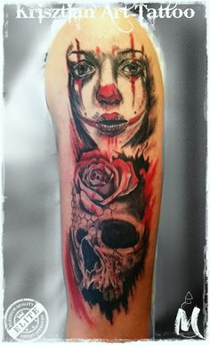 she clow and rose and skull - Krisztian Art Tattoo