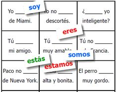 "Simple Spanish game to practice the 2 verbs meaning ""to be"" -- SER and ESTAR -- FREE and easy to download from FransFreebies.com"