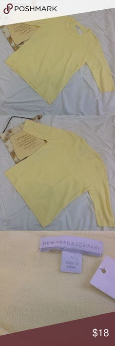 NY & Co Yellow Woman's Sweater XL New NY & Co yellow woman sweater. Small stain on lower hem. NWT. (C0316-053) New York & Company Sweaters Crew & Scoop Necks