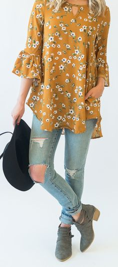 Piper Floral Tunic - Cute Fall Outfit Idea, floral tunic ripped jeans and booties