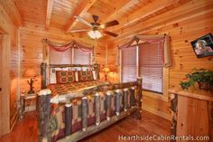 """Heavenly View"" is a spacious three-bedroom log cabin that has 2 kings and 1 queen bed in each room."