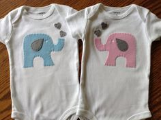 Twin Elephant Set  Boy Girl Twin Set Onesies by HarpersCreation, $33.00