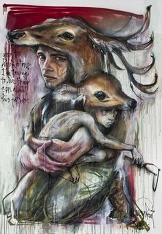 """Artists: Herakut   """"Don't look at me I'm trying to lie to my son about his future."""""""