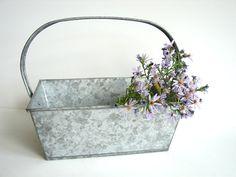 Vintage Galvanized Metal Basket / Bin with Handle  by ThirdShift, $22.00