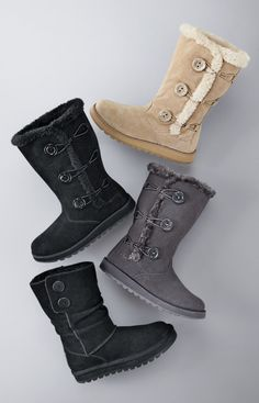 Boots, boots, boots Modest Outfits, Cool Outfits, Shoe Closet, Shoe Bag, Canada Shopping, Sheepskin Boots, Winter Wear, Suede Boots, Have Time