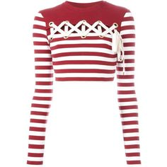 House Of Holland Striped Long Sleeve Cropped T-Shirt ($177) ❤ liked on Polyvore featuring tops, t-shirts, red, white long sleeve tee, striped long sleeve t shirt, red crop top, long sleeve crop top and white t shirt