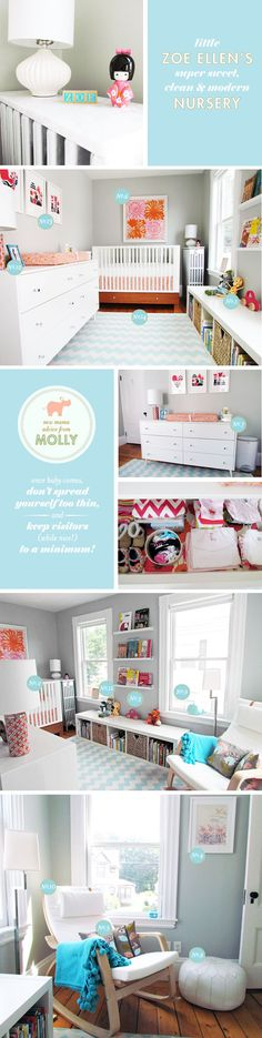 clean modern nursery. - love the simple rocker