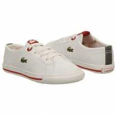 43d698b4d76fa2 Lacoste Kids  Marcel Tod Shoes (White Red) Tods Shoes
