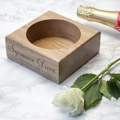 Personalised Solid Oak Champagne Holder