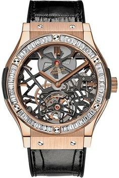 Hublot Classic Fusion Tourbillon 18K King Gold Baguette Diamond Men's Watch 505.OX.0180.LR.1904