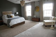 More pictures of area rugs over carpeting.