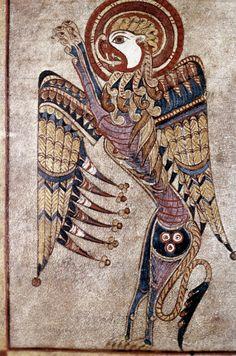 Illuminated Manuscript - BOOK OF KELLS: SAINT MARK. St Mark's symbol. Folio 27v detail. Hiberno-Saxon manuscript, c800 A.D.