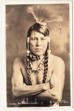 """1900 photo postcard """"An Oregon Indian"""" Taken in The Dalles. This Native American man is probably from a Chinook band."""