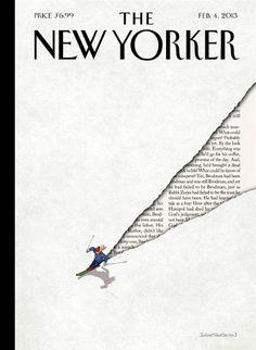 Wie alles begann:  Ein Skifahrer saust einen Hang hinab, seine Spur macht...